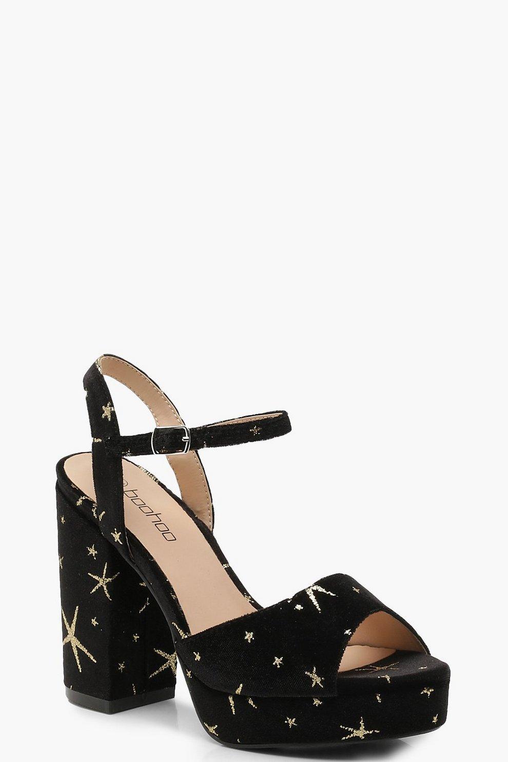 finest selection a8022 975ff Glitter Velvet Star Platform Heels   Boohoo