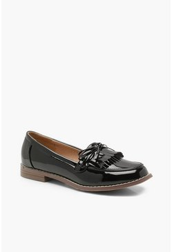 Womens Black Bow and Fringe Loafers