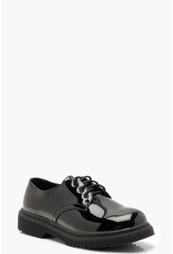 Womens Black Chunky Sole Brogues