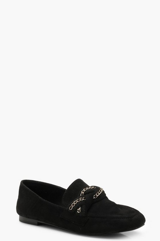 Womens Black Plait & Chain Detail Loafers