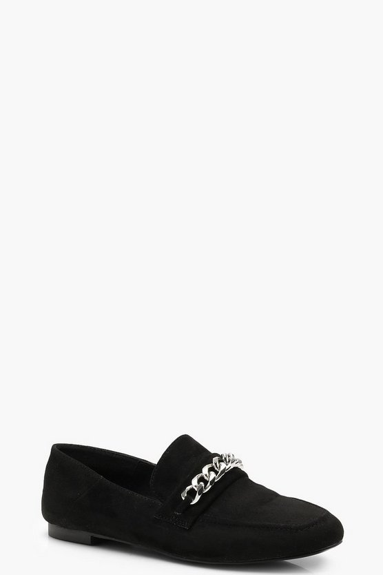 Womens Black Chain Detail Loafers
