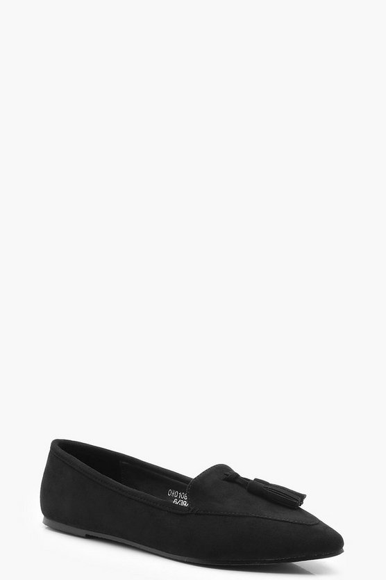 Womens Black Tassel Pointed Slipper Flats