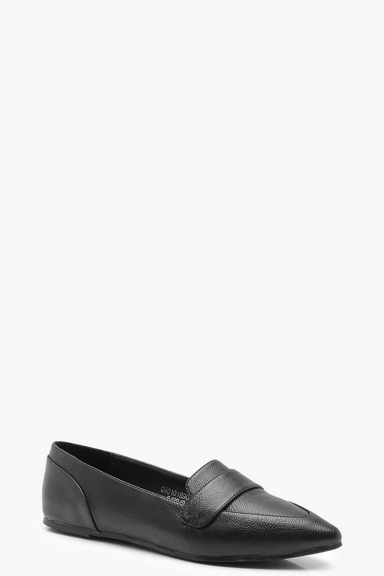 Pointed Loafer Flats, Black, Donna