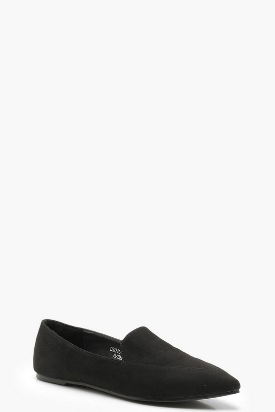 Pointed Slipper Flats, Black, Donna