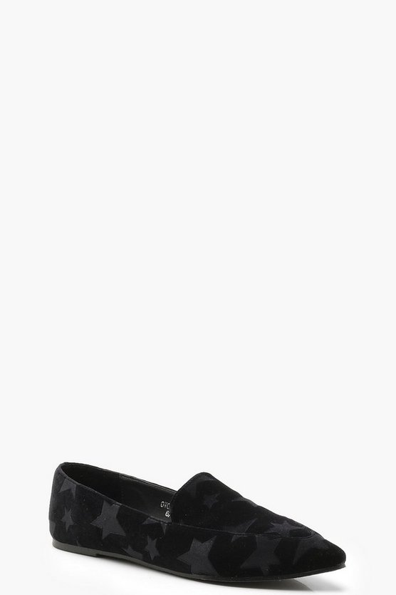 Velvet Star Embossed Pointed Slipper Flats