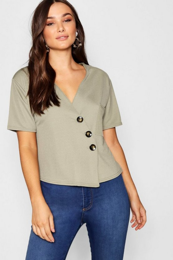 Womens Horn Button Detail Boxy Pocket Top