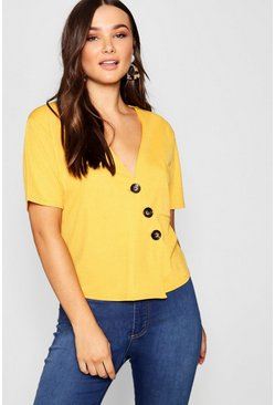 Womens Mustard Horn Button Detail Boxy Pocket Top