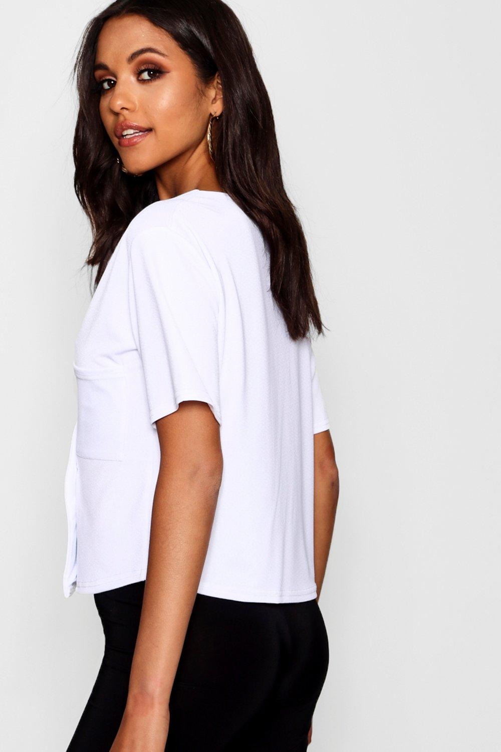 Boxy Pocket Detail Top Horn white Button F1UgWqwZOx