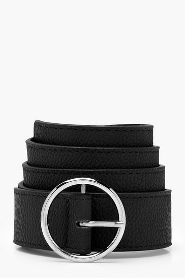 Womens Black PU Circle Skinny Boyfriend Belt