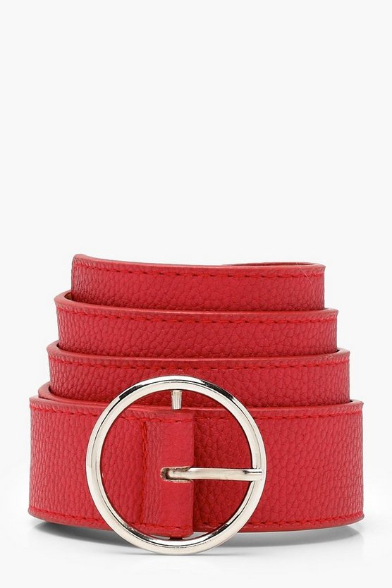 PU Circle Skinny Boyfriend Belt, Red, Donna