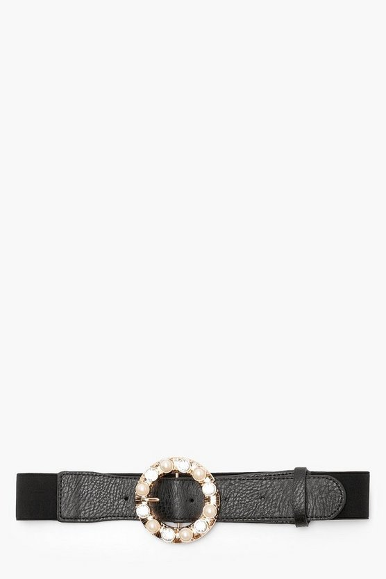 Pearl And Diamante Buckle Waist Belt