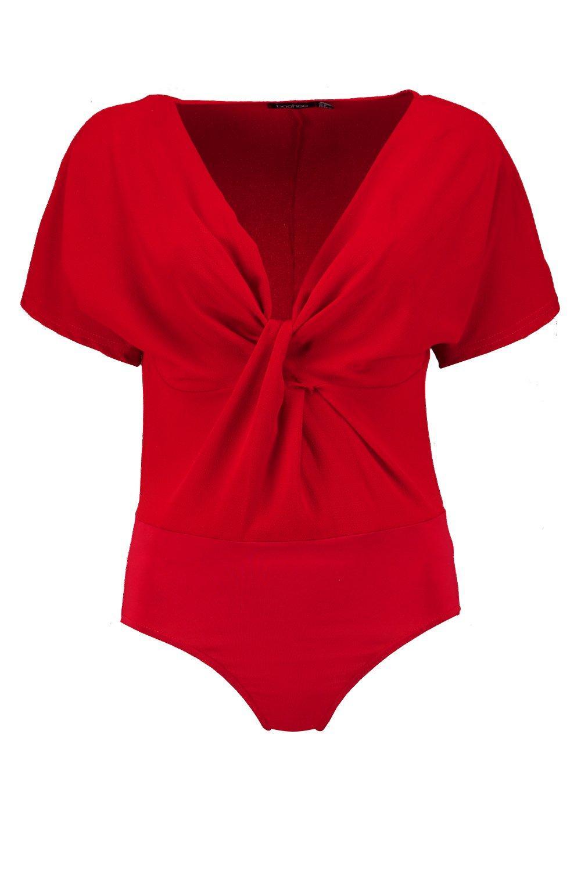 Twist Bodysuit Front Sleeve Kimono tomato AqwarAPS