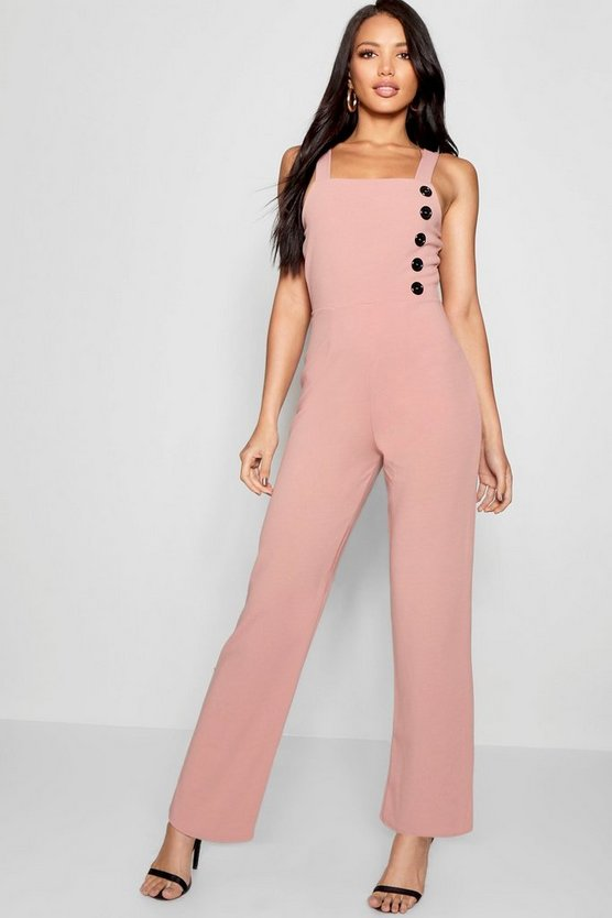 Fliss Button Up Jumpsuit Crepe Jumpsuit