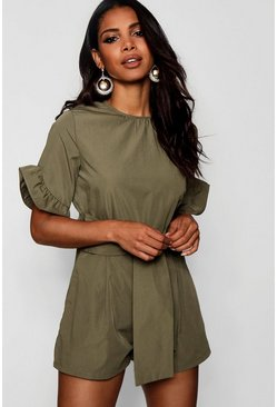 Womens Khaki Safari Style Utility Tie Belt Playsuit