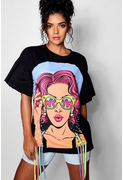 Womens Flared Sleeve Face Print Longline T Shirt