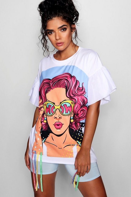 Flared Sleeve Face Print Longline T Shirt