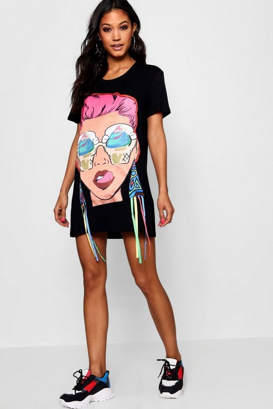 Womens Black Face Print T Shirt Dress
