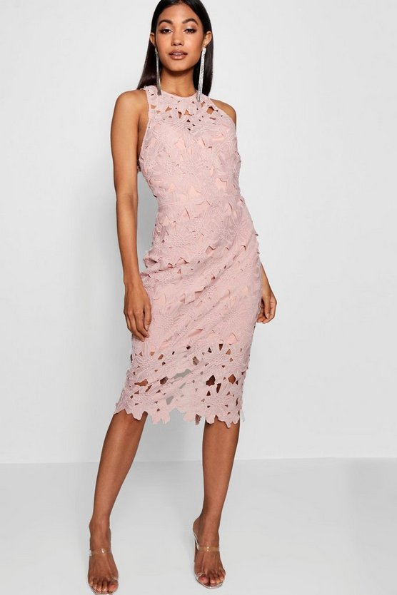 Womens Blush Lace Sweetheart Bodycon Midi Dress
