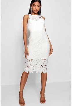 Womens White Lace Sweetheart Bodycon Midi Dress