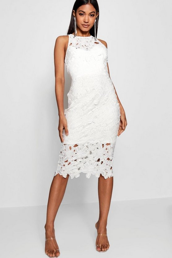 Lace Sweetheart Bodycon Midi Dress