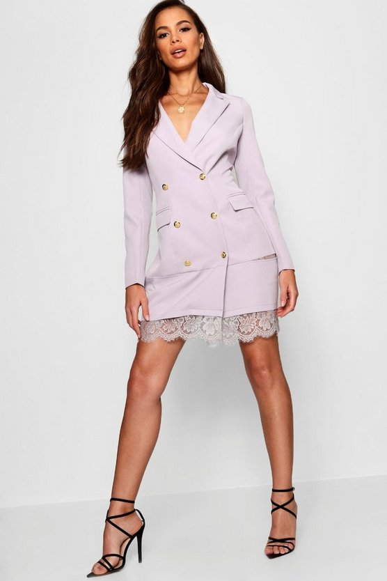 Blazer Dress With Lace Hem Detail