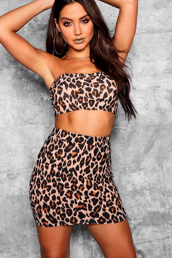 Womens Stone Leopard Print Fitted Mini Skirt