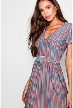 Pink Metallic Rainbow Stripe Relaxed Midi Dress