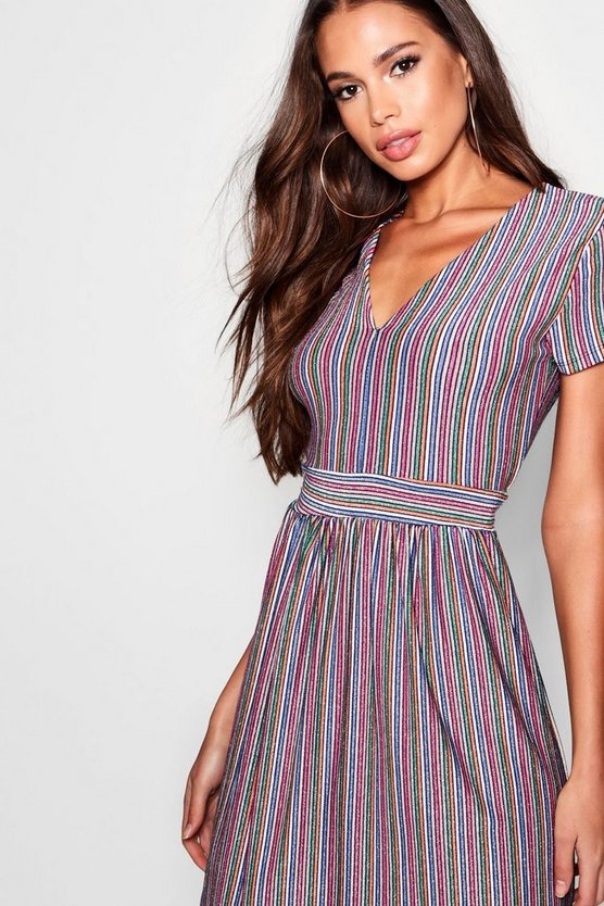Womens Pink Metallic Rainbow Stripe Relaxed Midi Dress
