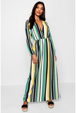 Womens Leaf green Striped Plunge Wrap Front Maxi Dress