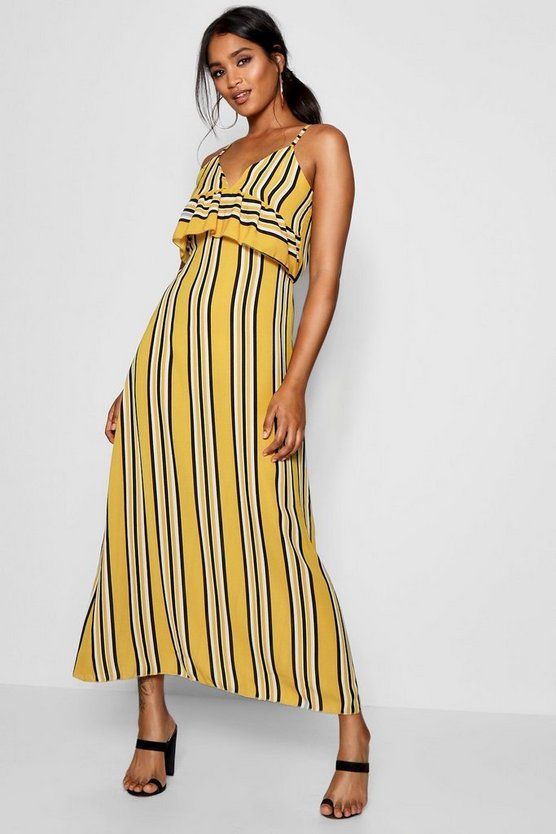 Womens Mustard Ruffle Front Striped Maxi Dress