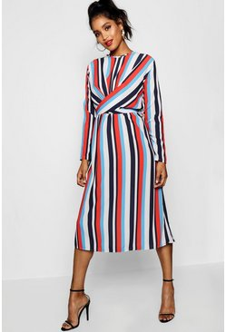 Womens Tangerine Wrapped Front Striped Midaxi Dress