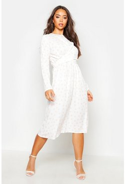 Wrapped Front Polka Dot Midi Dress, Ivory