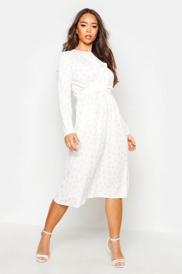 Womens Ivory Wrapped Front Polka Dot Midi Dress