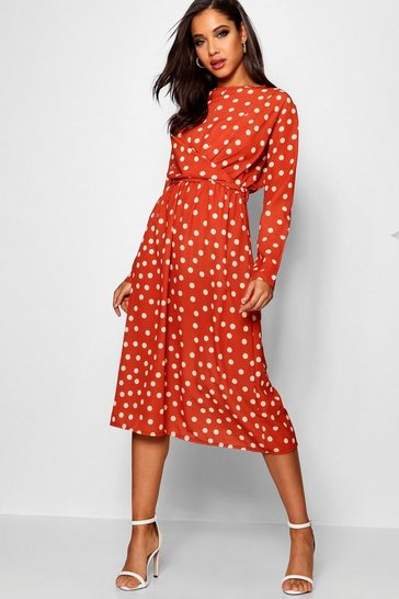 Womens Rust Wrapped Front Polka Dot Midaxi Dress