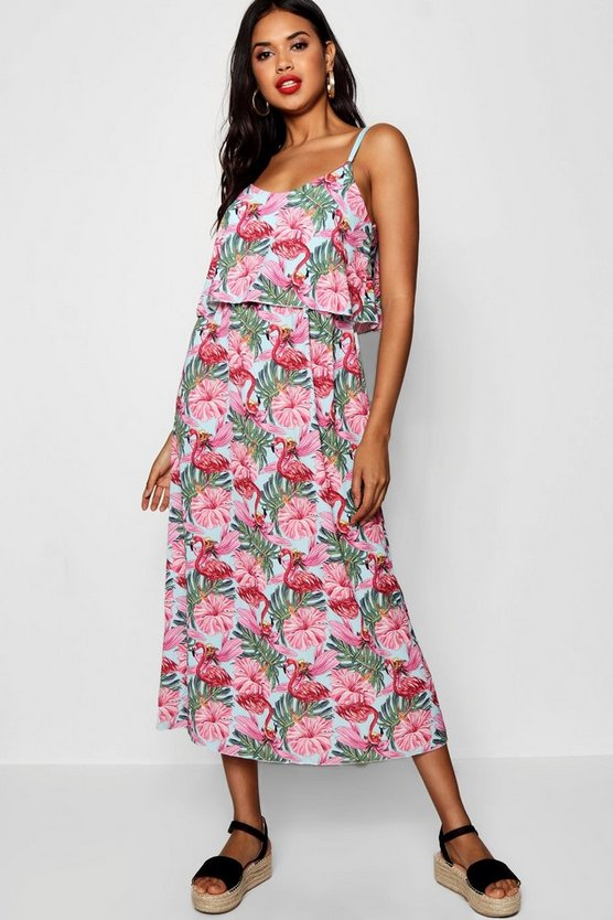 Ruffle Top Flamingo Print Midaxi Dress