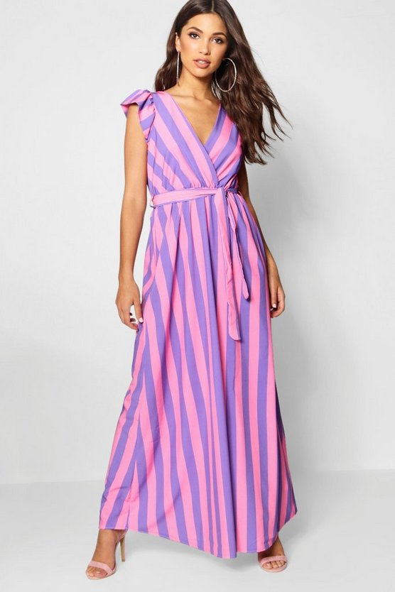 Olivia Pastel Stripe Wrapped Maxi Dress
