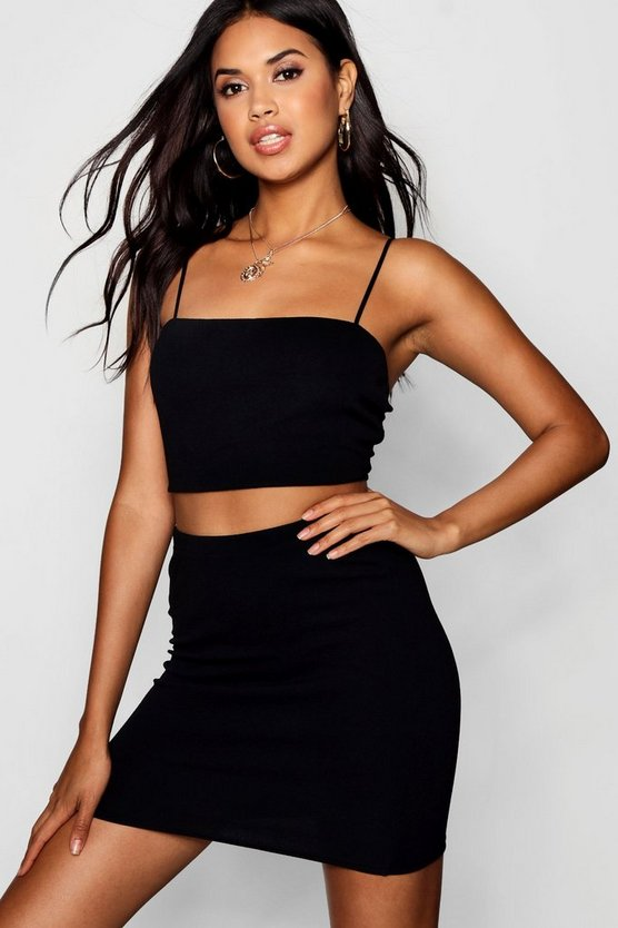 Womens Black Strappy Crop & Mini Skirt Co-ord Set