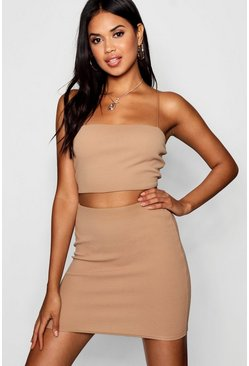 Strappy Crop & Mini Skirt Co-ord Set, Camel