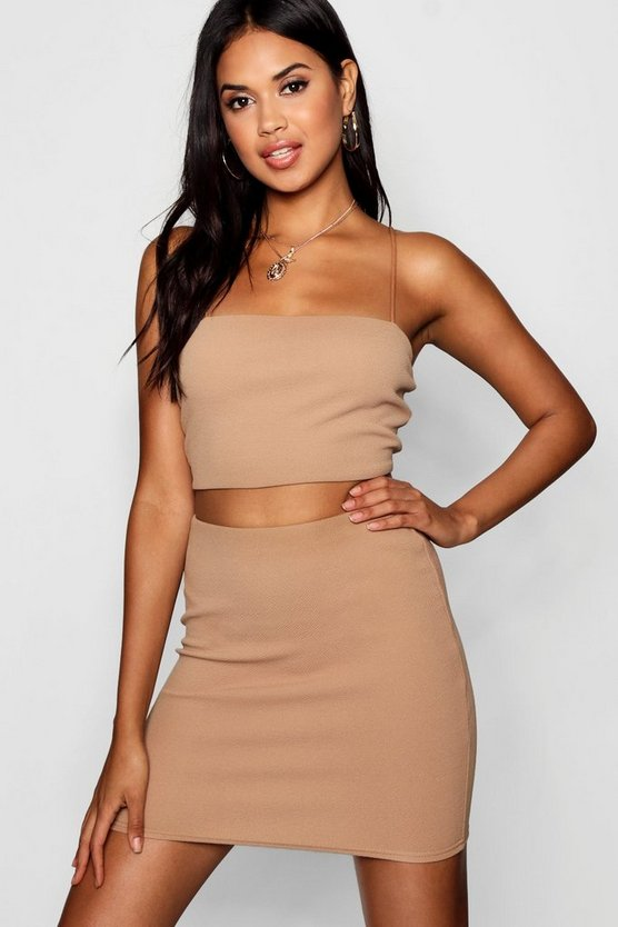 Strappy Crop & Mini Skirt Co-ord Set, Camel, Donna