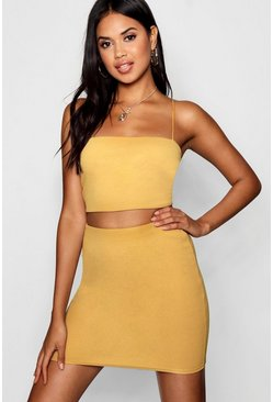 Mustard Strappy Crop & Mini Skirt Co-ord Set