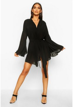 Black Wide Sleeve Woven Wrap Dress