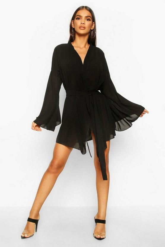 Womens Black Wide Sleeve Woven Wrap Dress