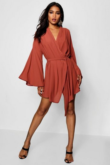 Caramel Wide Sleeve Woven Wrap Dress