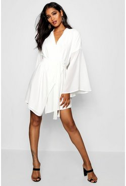 Ivory Wide Sleeve Woven Wrap Dress