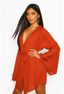 Wide Sleeve Woven Wrap Dress, Rust, Donna