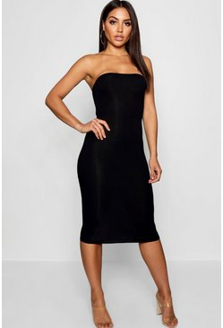 Black Bandeau Bodycon Midi Dress