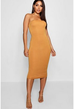 Bandeau Bodycon Midi Dress, Mustard, Donna