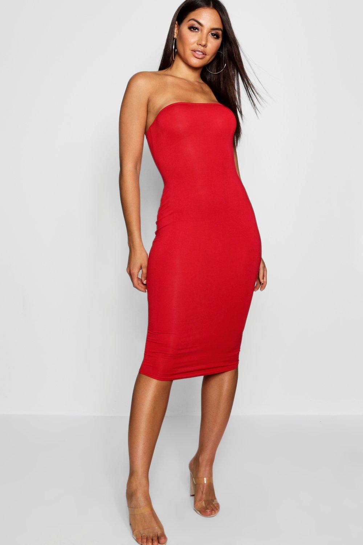 2b2baff4ea5b Womens Red Bandeau Bodycon Midi Dress. Hover to zoom