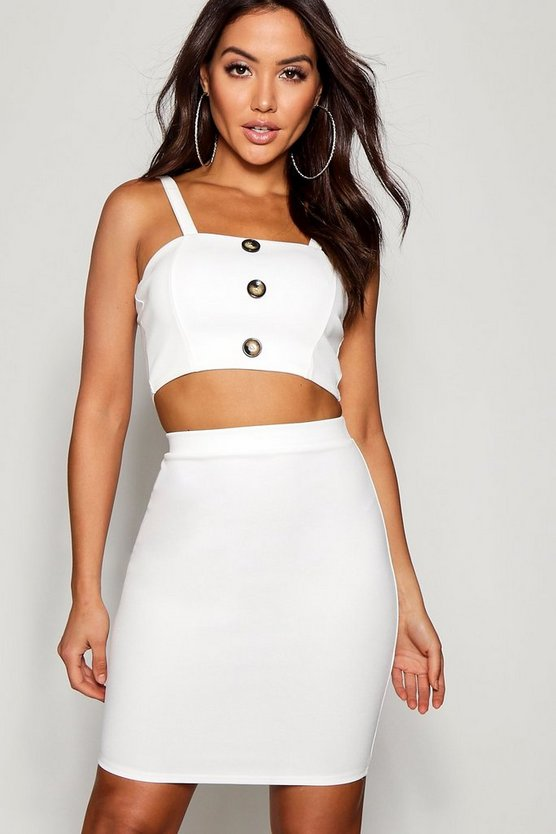 Katie Button Detail Strappy Crop Mini Skirt Co-ord