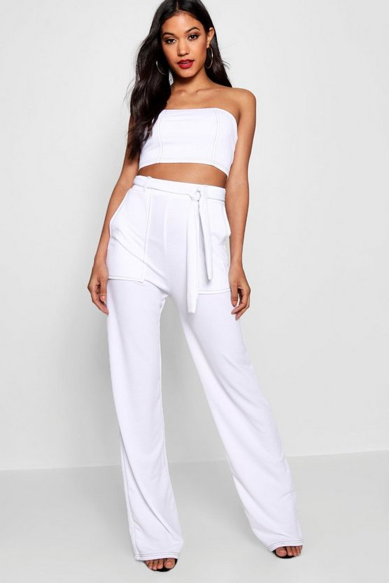 Contrast Stitching Bandeau Wide Leg Co-ord